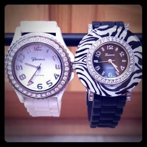 Two Geneva silicone crystal women watch